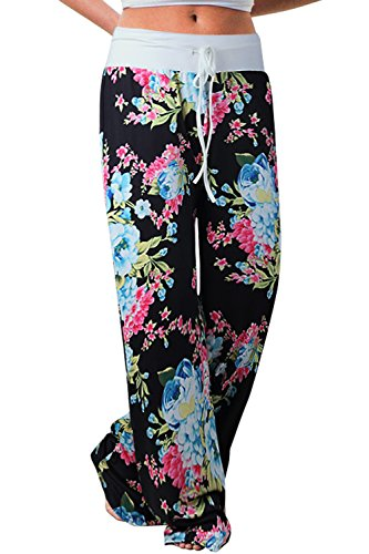 ZHENYUL Women's Comfy Casual Palazzo Pant Floral Print Drawstring High Waist Wide Leg Lounge Pants (Large, Black 2)