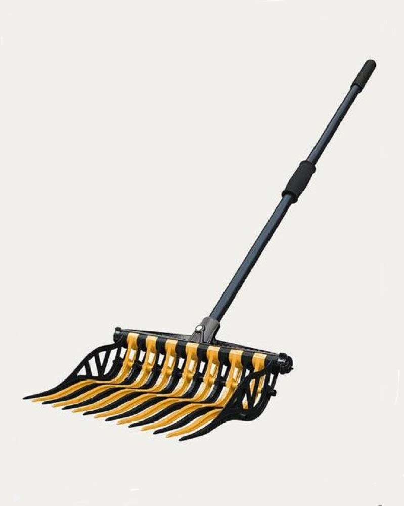 Noble Outfitters Wave Manure Pitch Fork an Unbreakable, Lightweight, and Customizable Manure Fork (Gold/Black)