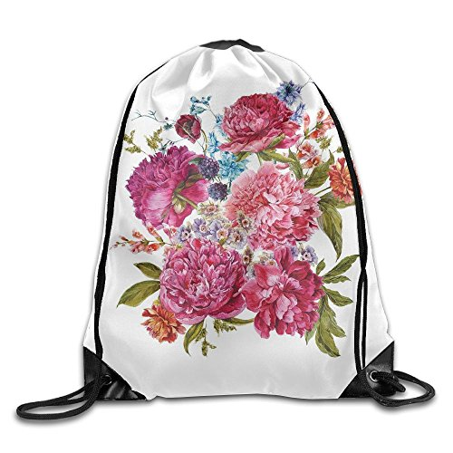 TRUSTINEE478 Gentle Summer Flora Hyacinths Blackberry And Peonies Victorian Vegetation Basketball Men Women Drawstring Bag Backpack (Victorian Basketball)