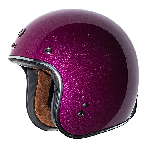 TORC Unisex-Adult's Open-Face Style (T50 Route 66) 3/4 Motorcycle Helmet with Solid Color (Mega Flake) (Bubblegum, (Face Gum)