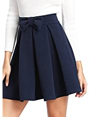 SheIn Women's Basic Solid Flared Mini Skater Skirt