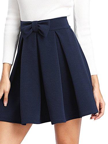 SheIn Women's Basic Solid Cutout Scallop Hem Flared Mini Skater Skirt Small Navy#2