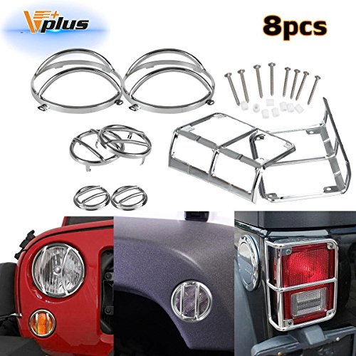 Vplus (Pack of 8 Silver Guard Cover Protectors Headlight Tail Light Front Turn Signal Fender Side Marker Compatible with Jeep Wrangler 2007-2016 - Headlight Fender Guard