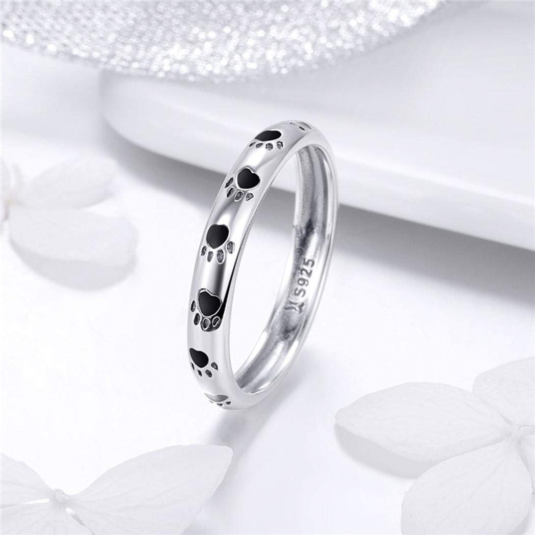 LALA JEW Fashion 925 Sterling Silver Stackable Dog Cat Footprints Finger Rings for Women Wedding Party Jewelry