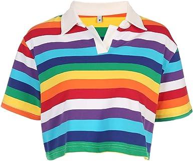 Camiseta Estampada de Rayas Arcoiris para Mujer Cuello Vuelto Estilo Coreano Crop Tops: Amazon.es: Ropa y accesorios