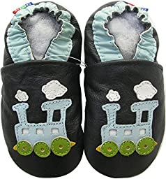 Carozoo baby boy soft sole leather infant toddler kids shoes Train Blue Black C2 7-8y