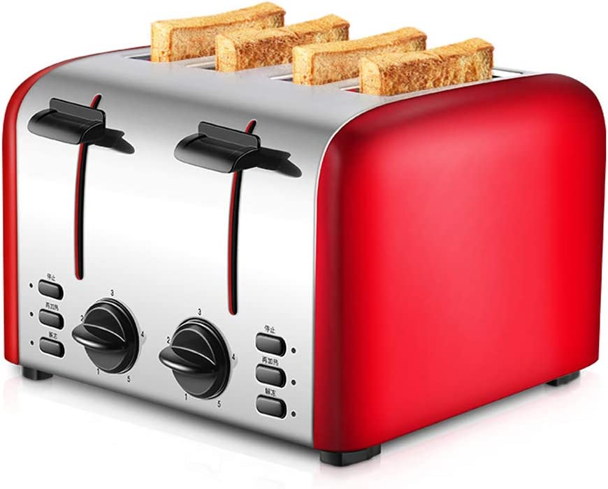 Toaster 4 Slice, with 7 Toasting Settings and Removable Crumb Tray, Extra Stainless Steel Wide Slot BPA Free. Exclusively Design.
