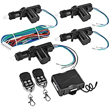 Flexzion Universal Car Keyless Entry System Kit 4 Door Power Central Locking Actuator Motors with 2