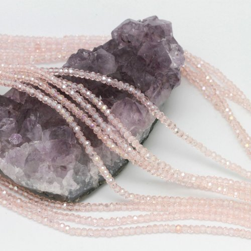 Faceted Beads Chinese Round Crystal (100 pcs 3x2mm Chinese Crystal Glass Beads Faceted Rondelle Pink Quartz AB)
