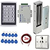 1200lbs Magnetic Lock Security Door Entry Control System Kit Metal Keypad Reader +110-240V Power supply+Stainless Steel Exit Switch+Keyfods+3m cable