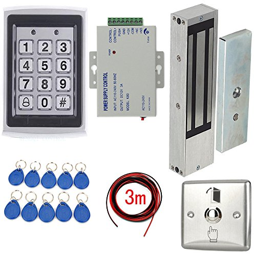1200lbs Magnetic Lock Security Door Entry Control System Kit Metal Keypad Reader +110-240V Power supply+Stainless Steel Exit Switch+Keyfods+3m cable by MENGQI-CONTROL