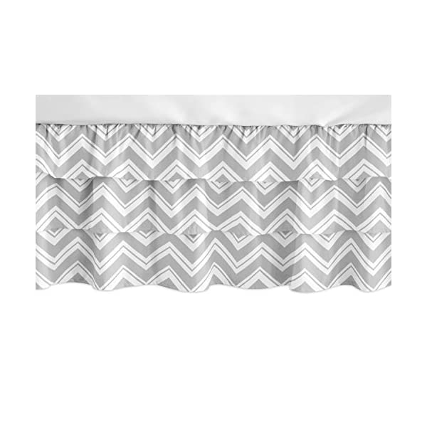 Sweet Jojo Designs Grey and White Chevron Girl Ruffled Tiered Baby Crib Bed Skirt Dust Ruffle for Zig Zag Collection