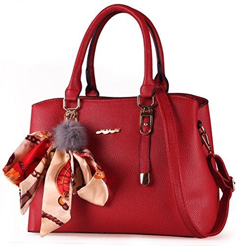 Red Leather Shoulder Bag (XYH Women Handbags Shoulder Bags Tote PU Leather Women's Handbag Large Capacity Bags)