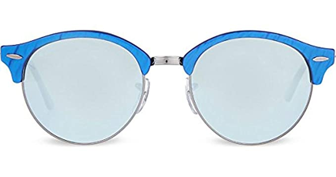 a383b42d44 Ray Ban RB4246 Clubround Sunglasses Top Wrinkled Blue On Black w Green  Mirror Silver Lens