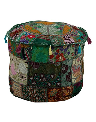 Traditional Green Ottoman Cover Pouf Home Decorative Living Room Foot Stool Vintage Indian Ottomans Pouf Covers Handmade Patchwork Embroidered Floor Chair Cushion Cover by Rajrang (Inexpensive Ottoman Pouf)