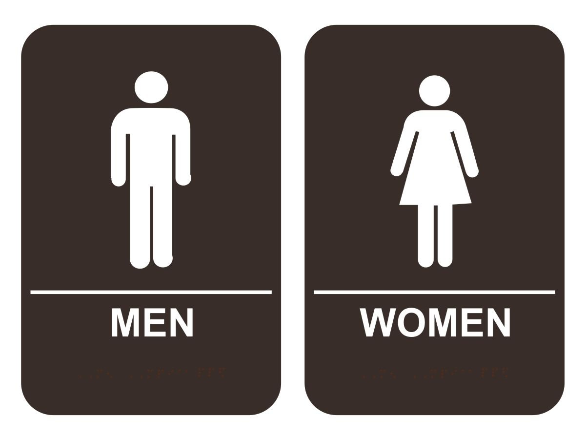 Amazon ada men womens restroom sign set brown office amazon ada men womens restroom sign set brown office products biocorpaavc Choice Image
