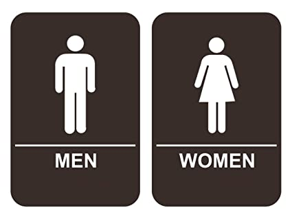 Restroom signs Arrow Image Unavailable Amazoncom Amazoncom Ada Men Womens Restroom Sign Set Brown Office Products