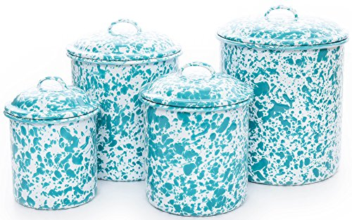 Enamelware 4 Piece Canister Set - Turquoise (Enamelware Canister)