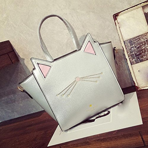 Girls wuayi Ladies Bags Purse Cute Silver Tote Handbag Shoulder Satchels Crossbody Ear Women for Cat Messenger Bag HUHdrqw