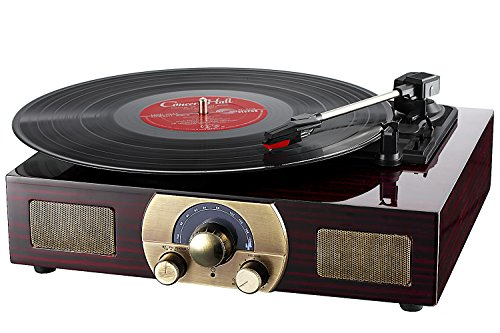 LuguLake Stereo 3-Speed Turntable with Built-In Bluetooth Sp