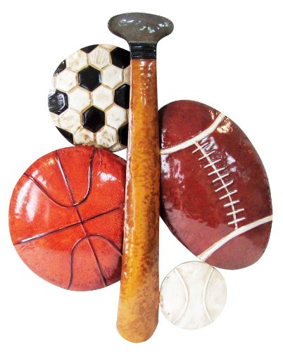 8 Decorative Wall Art, 18.5 by 22.25 by 1.75-Inch (Sports Metal Art)