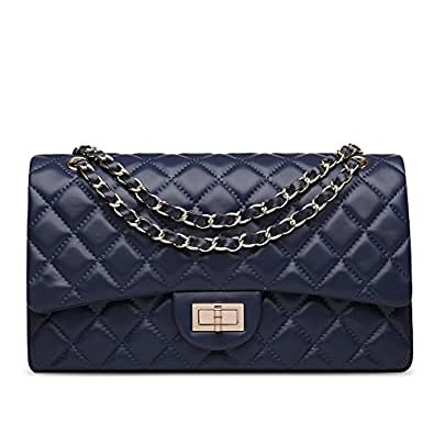 Ainifeel Women's Quilted Leather Shoulder Handbag Hobo Bag Purse (Medium, Blue)