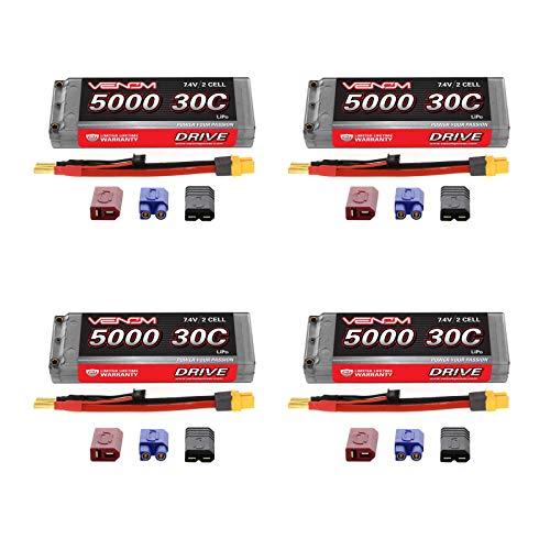 (Venom 30C 2S 5000mAh 7.4V Hard Case LiPo Battery ROAR with Universal 2.0 Plug (Traxxas / Deans / EC3) x4 Packs)