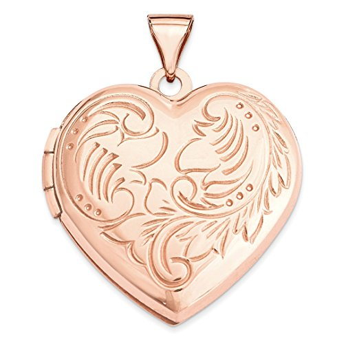 ICE CARATS 14kt Rose Gold 21mm Domed Heart Photo Pendant Charm Locket Chain Necklace That Holds Pictures Fine Jewelry Ideal Gifts For Women Gift Set From Heart 14kt Gold Domed Heart Locket