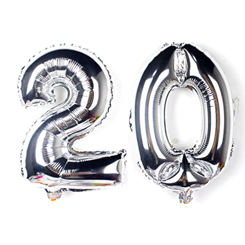 KEYYOOMY 40 inch Number 20 Balloon Silver Gaint Jumbo Foil Mylar Number Balloons for 20th Birthday Party, Wedding Anniversary Celebrate Parties Decorations
