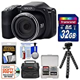 Minolta MN35Z 1080p 35x Zoom Wi-Fi Digital Camera (Black) with 32GB Card + Case + Flex Tripod + Kit