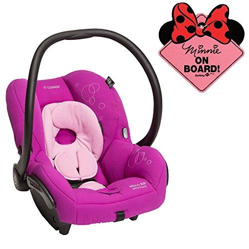 Maxi Cosi Mico AP Infant Car Seat w Disney Minnie Mouse On Board Sign (Posh Purple)