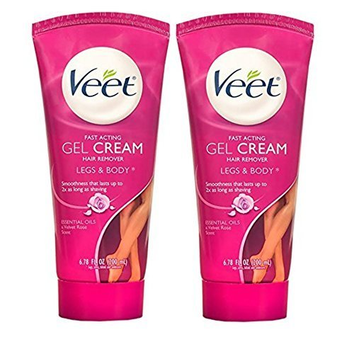 Veet Fast Acting Gel Cream Hair Remover, Legs and Body, Essential Oils and Velvet Rose Scent, 6.78 Oz (Pack of 2)