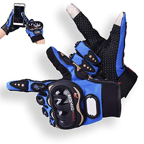Motorcycle Gloves Breathable Skid-proof Point Plastic Fabrics Rubber Patch Protector Luva Motoqueiro Guantes Moto Motocicleta Luvas de moto Cycling Motocross gloves Gants (Blue Screen Touch, M)