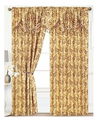 SET OF 2 PENELOPIE CURTAIN PANELS WITH ATTACHED AUSTRIAN VALANCE 84 inches long- Gold