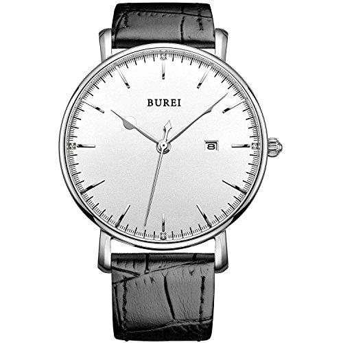 Burei Mens Silver Ultra Thin Big Face Quartz Analog Wrist Watch With Black Leather Strap Date Window