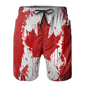 Amazon.com: Men's Canadian Flag Art Summer Swimwear Beach