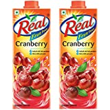 Real Fruit Power Juice, Cranberry, 1L (Pack of 2)