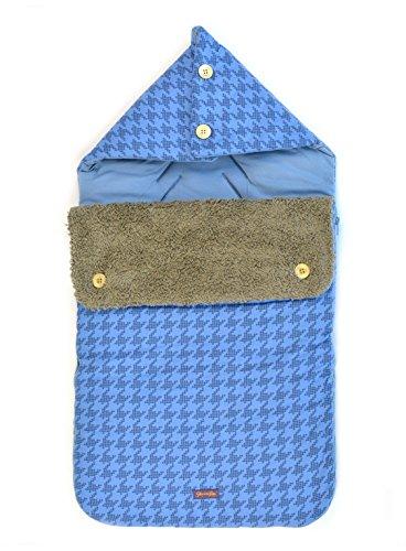 Glorious Lou Baby Fußsack aus Bio-Baumwolle für Babyschale / Universal Autositz / Maxi-Cosi / Tragebettchen - Kollektion Sky Blue - Hahnentritt Blau