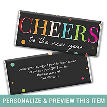 personalized new years eve cheers chocolate bar wrappers only 25 wrappers