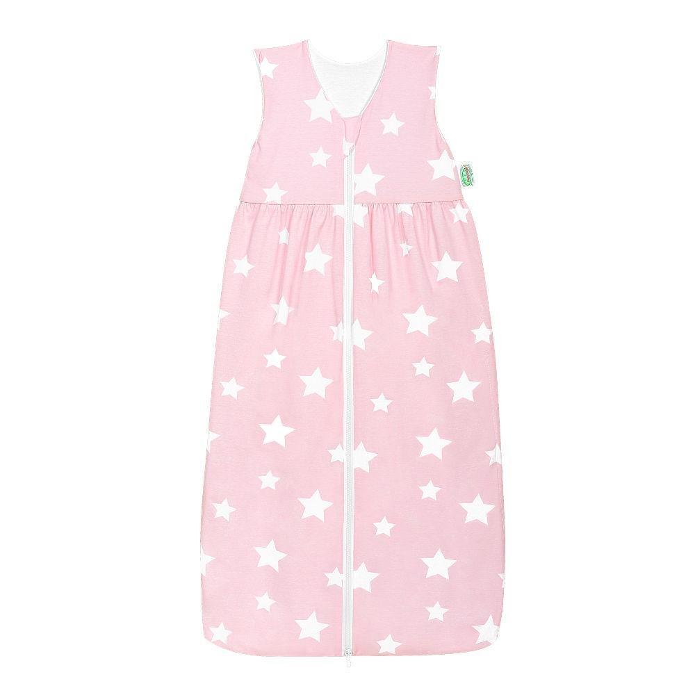 Odenwälder Jersey-Schlafsack Anni white stars rose quarz, Größe:90