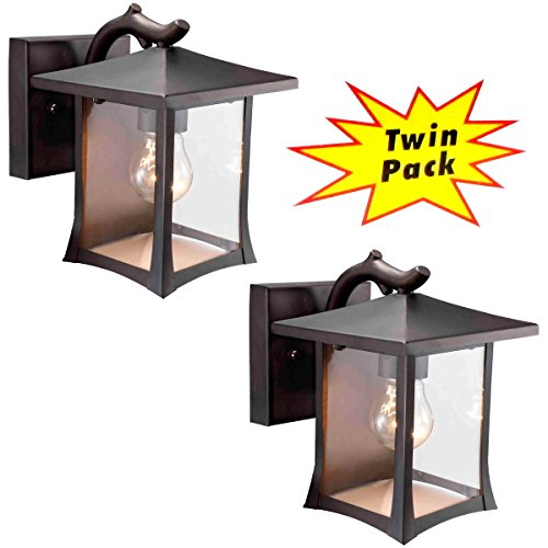 Designers Impressions 73474 Black Mission Style Outdoor Patio / Porch Wall Mount Exterior Lighting Lantern Fixtures with Clear Glass - Twin - Designer For Less Styles