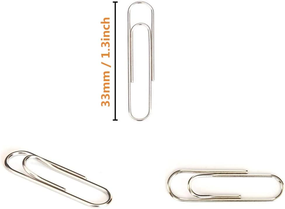 300 Pieces Paper Clips Silver Metal Paper Bulldog Clips 33mm Mini pegs for Files Papers Office Supply