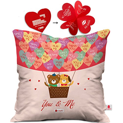 Indibni Valentines Day Gift You & Me Quote Teddy in Hot Air Balloon with Love Messages Multi Cushion Cover 16x16 inch - Gift for Girlfriend, Wife, Her, Birthday, Anniversary, Spouse