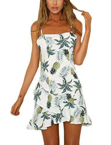 Vestidos Mujer Elegante Verano Tirantes Sin Tirantes Espalda Abierta Cortas Vestido Playa Impresión Floral Casual con