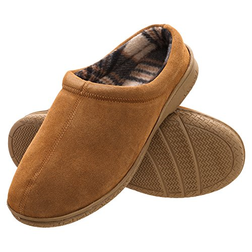 (Heat Edge Mens Memory Foam Suede Slip on Indoor Outdoor Clog Slipper Shoe (11, Tan))