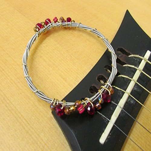 recycled guitar string bracelet ruby crystal handmade. Black Bedroom Furniture Sets. Home Design Ideas