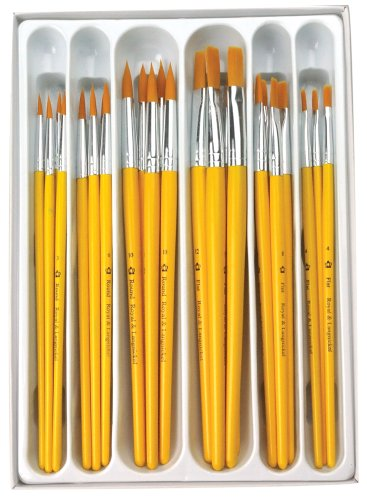 Royal Brush Taklon Hair Classroom Value Pack, Assorted Size, Pack of 30 ()