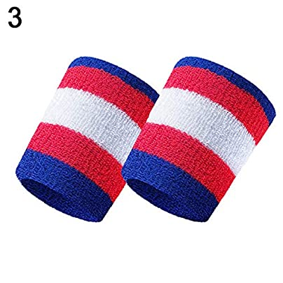 alsu3luy02Ld Stripe Sport Badminton Basketball Wristband Absorb Sweat Towel Wrist Protector Estimated Price £4.06 -