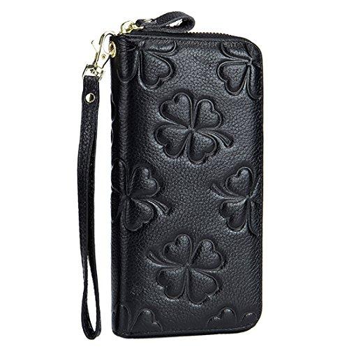 HASFINE Women Genuine Leather Wallet RFID Blocking Clutch Bag Wristlet Handbag Embossed Flower Purse Credit Card Holder (Black) ()