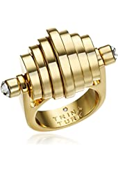 Trina Turk Retro Sport Moveable Disc Gold White Ring, Size 7